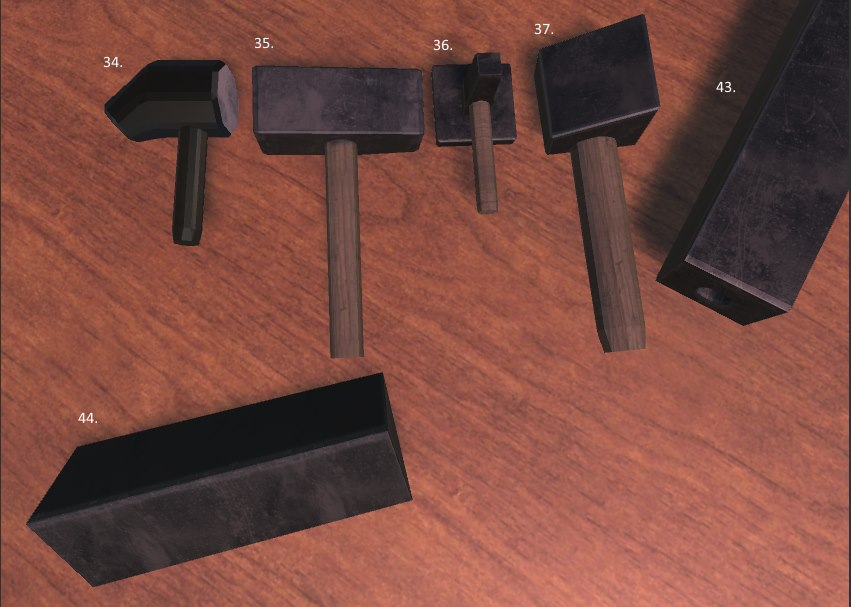 Blacksmithing FileMaker, Sledge Hammer, Blacksmith Flatter Hammer, Top Butcher,Monkey Tool, Anvil Devil