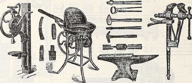 An assortment of blacksmith tools.