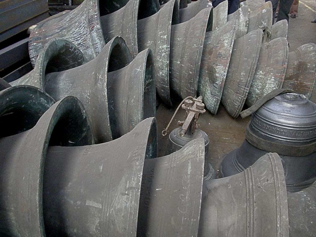 Bells produced in a foundry.