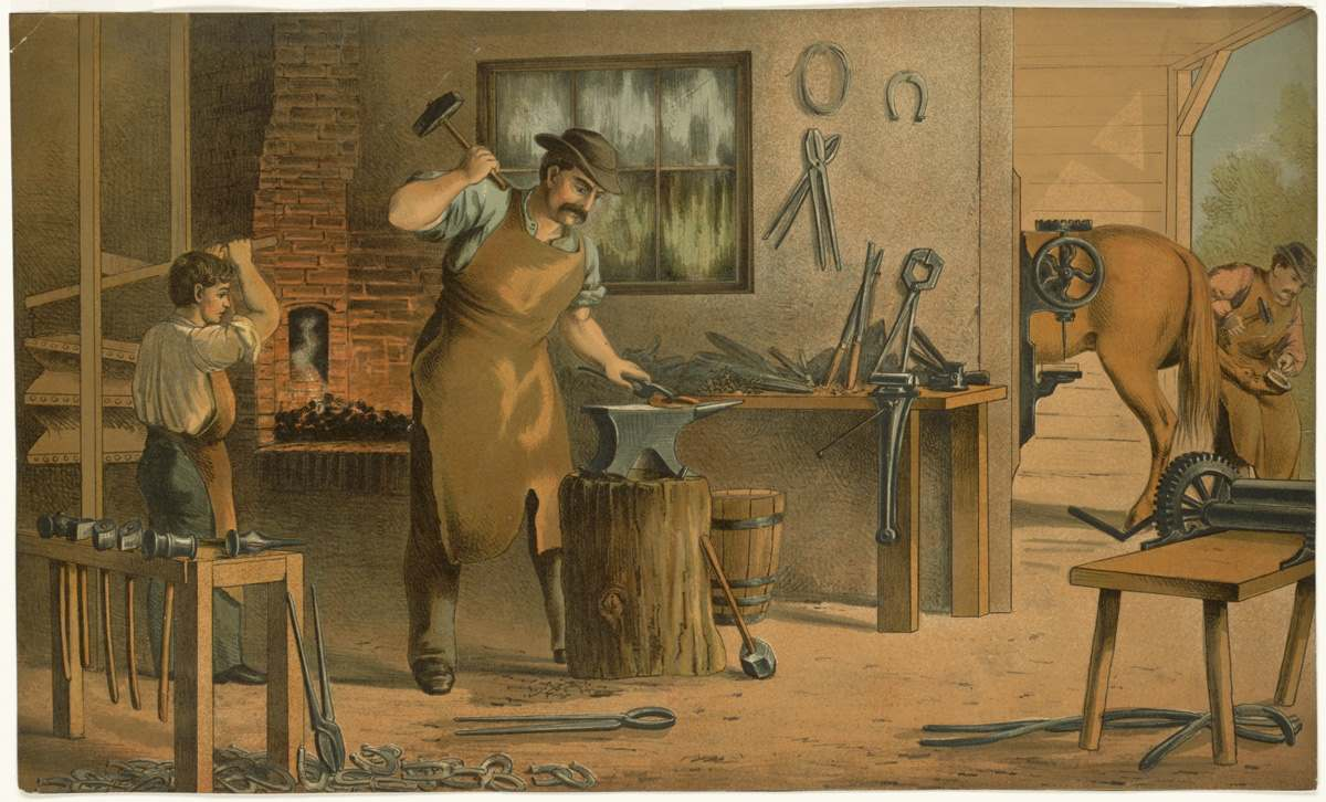 A cartoon farrier hard at work smithing horse shoes. His assistant stokes the forge fire behind him. source - Boston Public Library